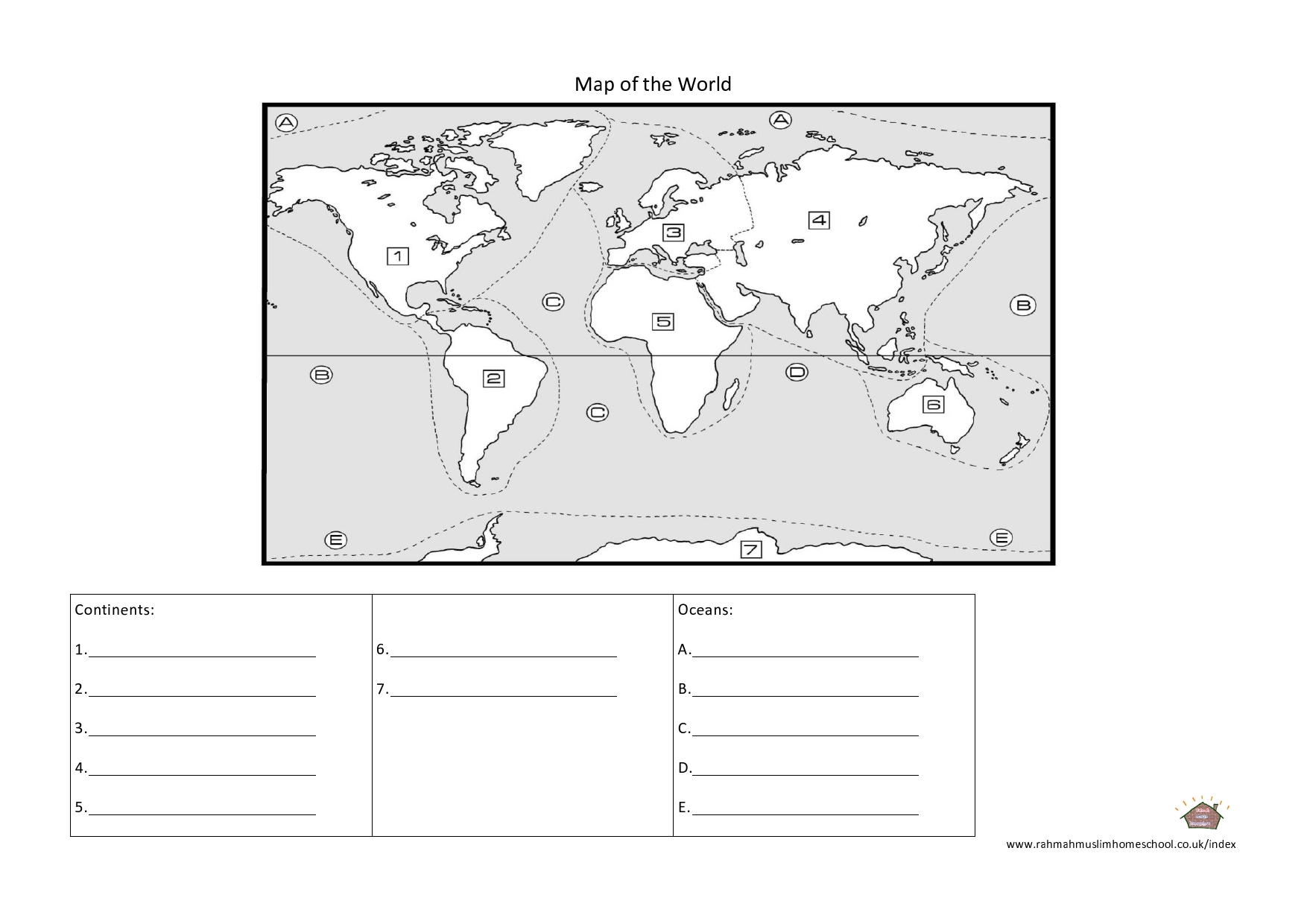 7 continents and oceans worksheet