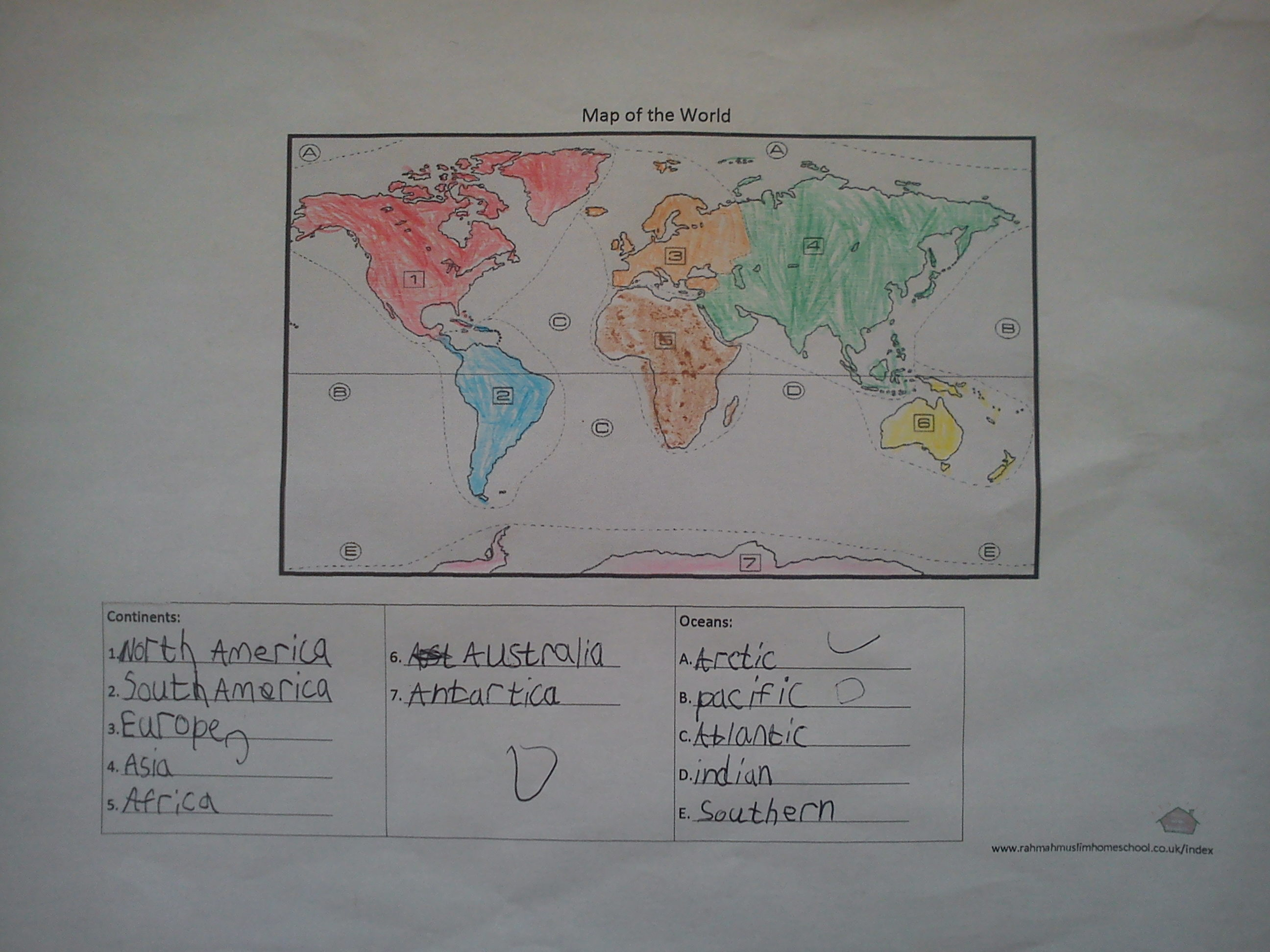 Geography continents and oceans worksheet the resources of assalamualaikum gumiabroncs Choice Image