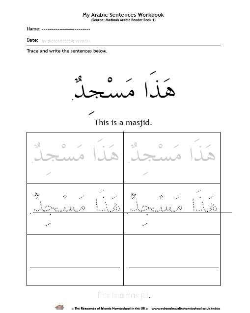 Basic Vocabulary And Short Sentences In Arabic For Kids 1a The