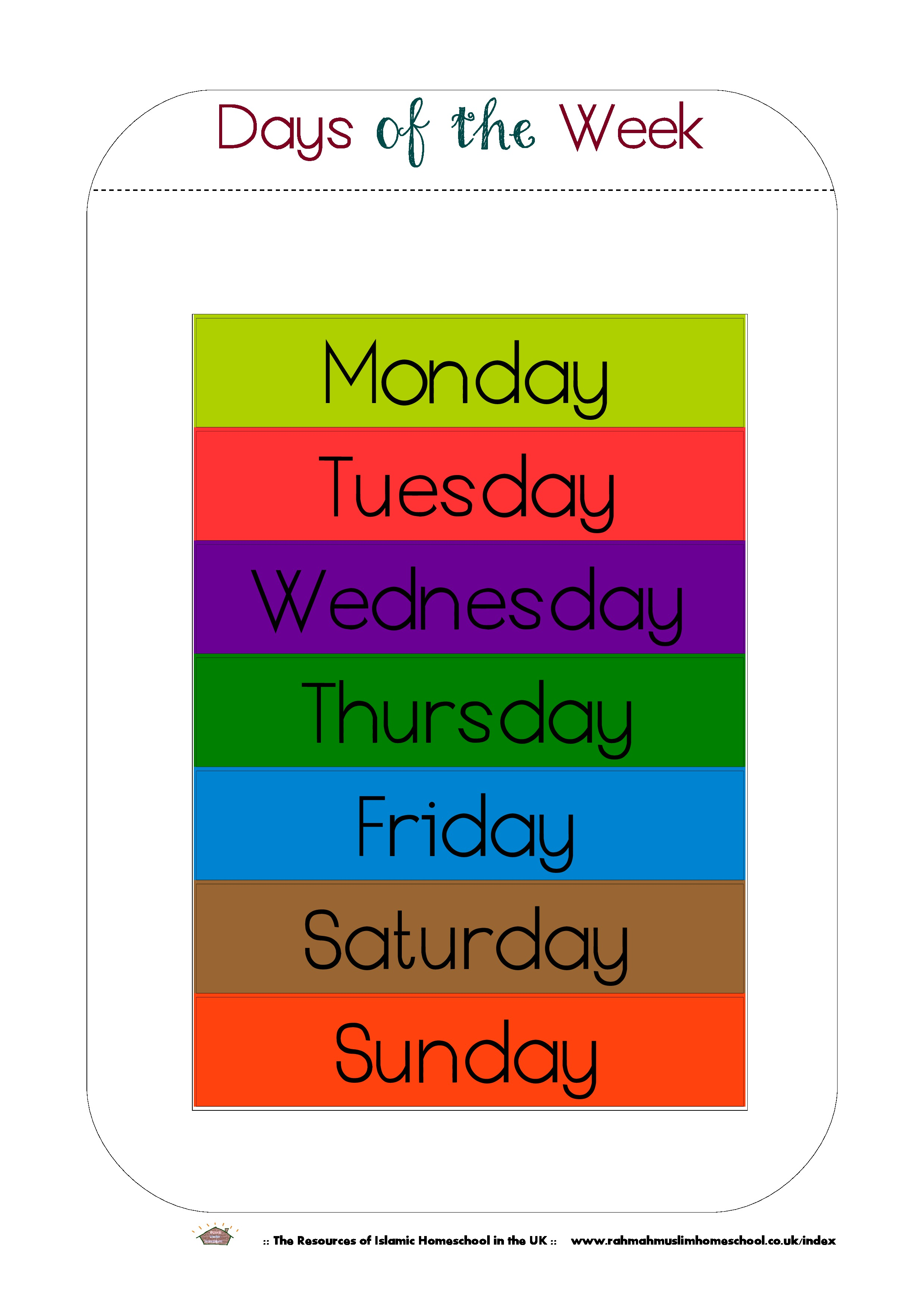 image about Free Printable Days of the Week Worksheets known as Totally free Printable Times of the 7 days Workbook and Poster The