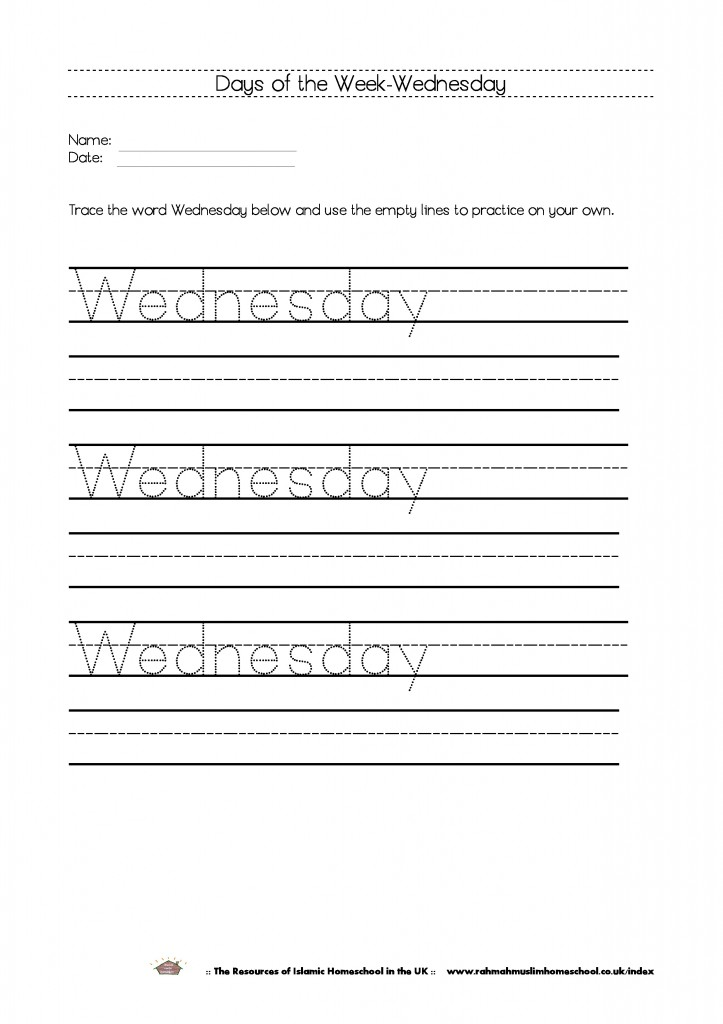 Days of the week wednesday