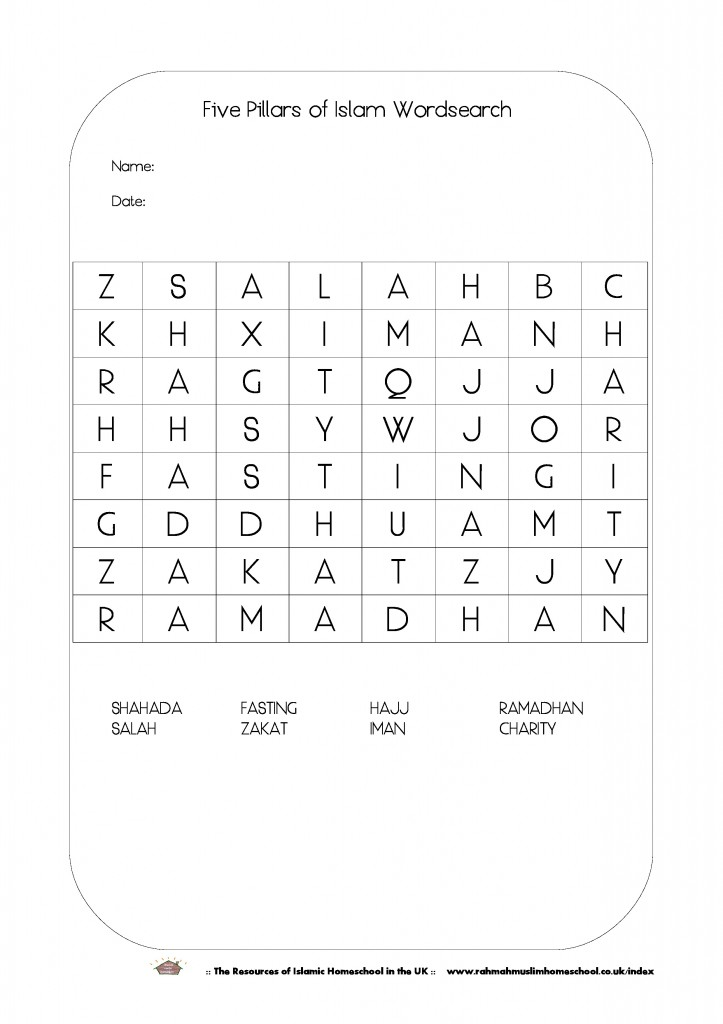Five Pillars of Islam Wordsearch-page-0