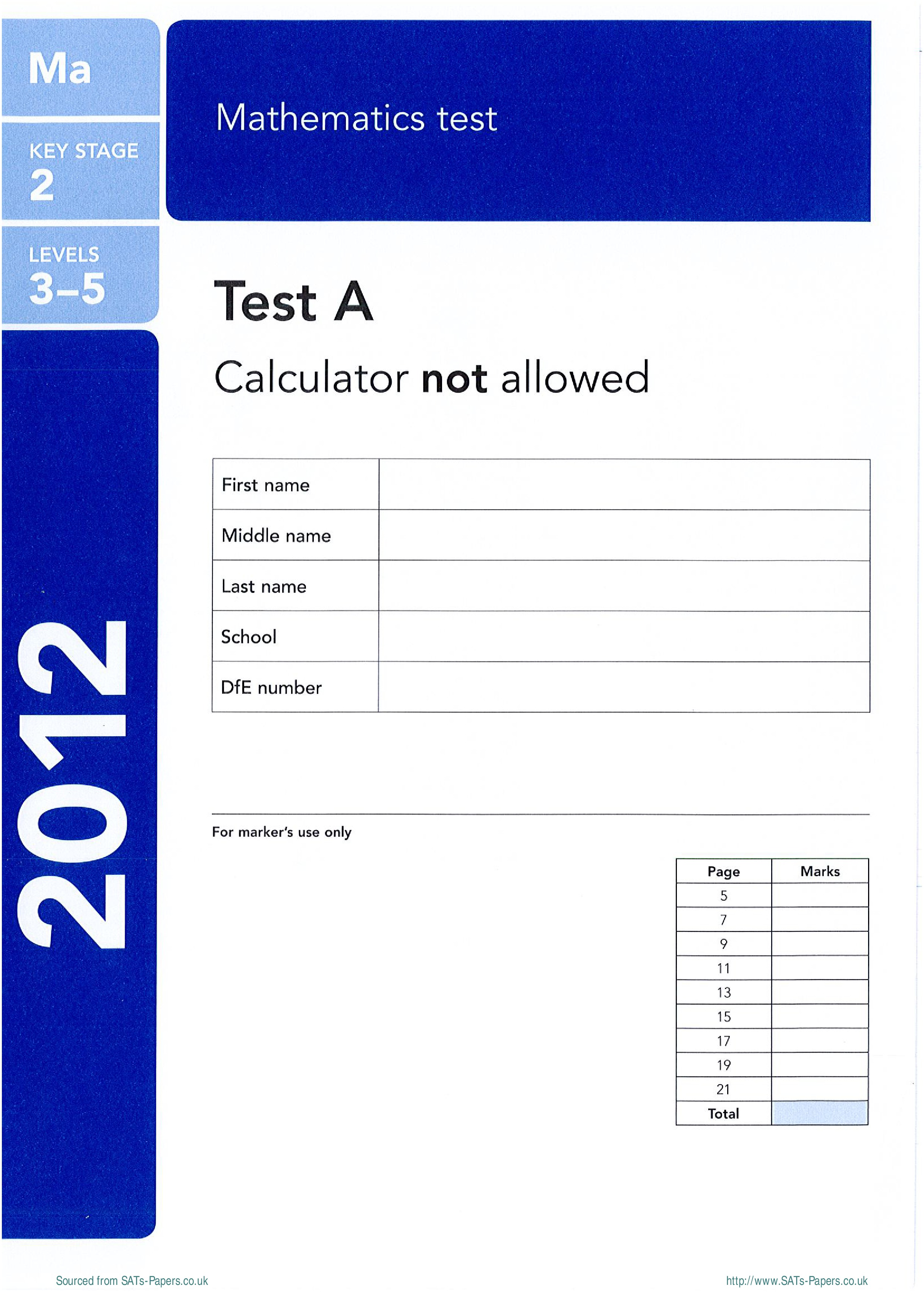 FREE Worksheets: KS2 Maths Test-a 2012 SATs Papers | The ...