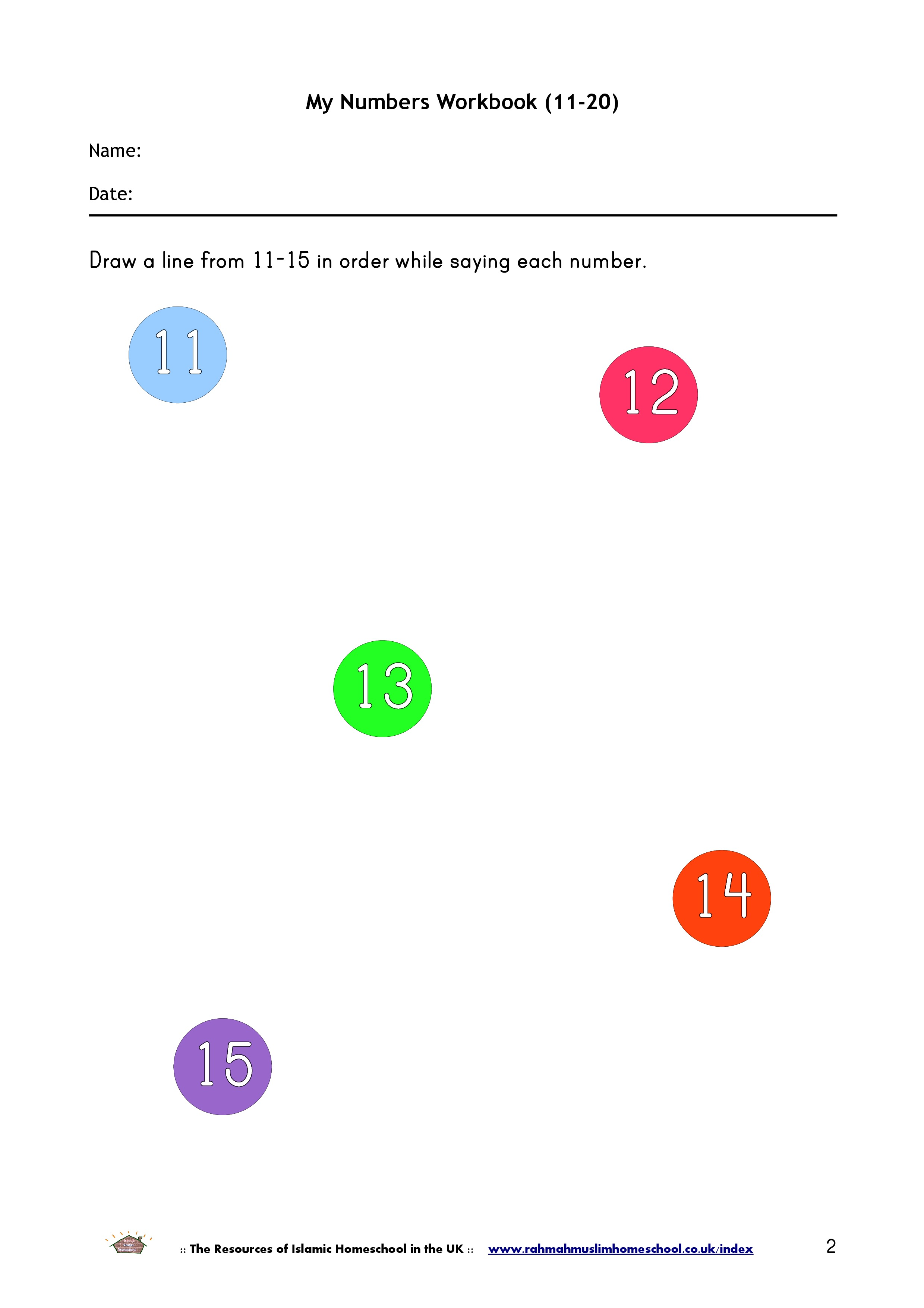 Maths: My Numbers Workbook (11-20) | The Resources of Islamic ...