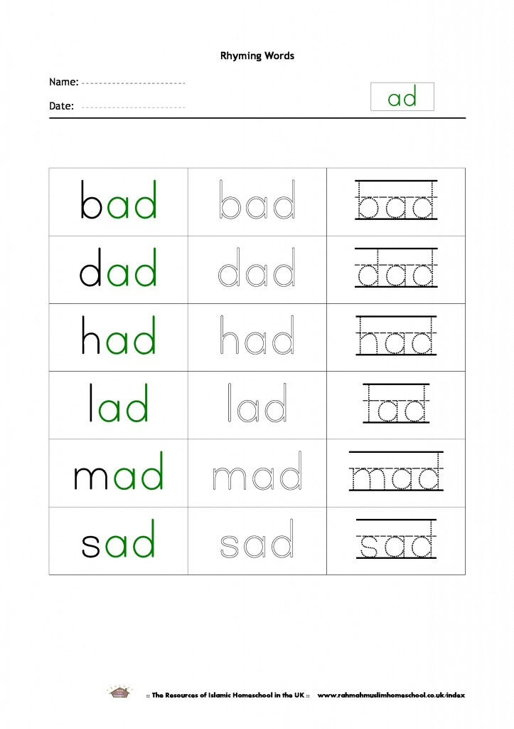 Free Rhyming Words Worksheet Ad The Resources Of