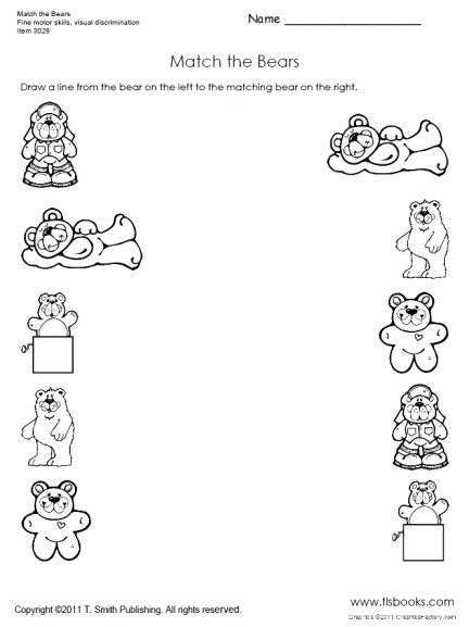 Worksheet Preschool Matching Worksheets free matching objects worksheets for preschoolers the resources matchbearslarge